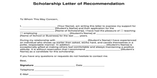 Scholarship Recommendation Letter for the Scholarship program