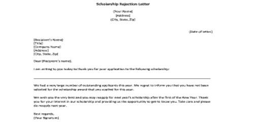 Sample Scholarship Rejection Letter Format