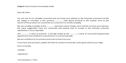 Sales Product Introduction Letter