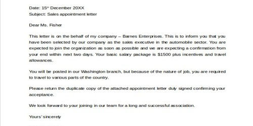 Sample Sales Appointment Letter format
