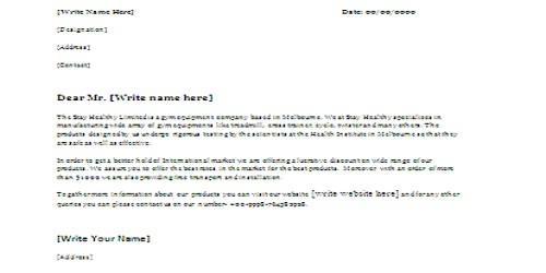 Common Sales Letter Form
