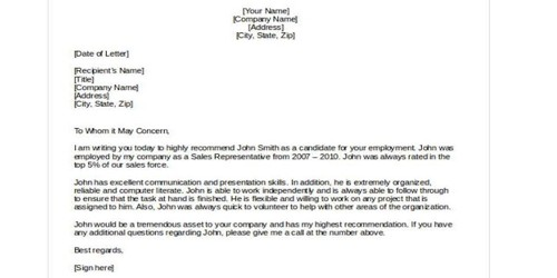Sample Sales Recommendation Letter Format