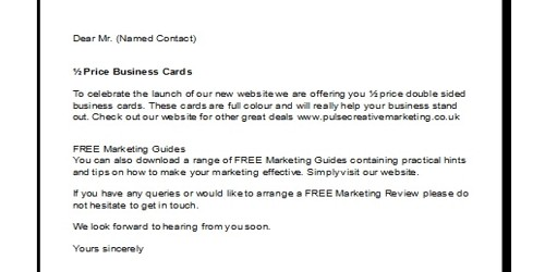 Sample Sales and Marketing Letter Format