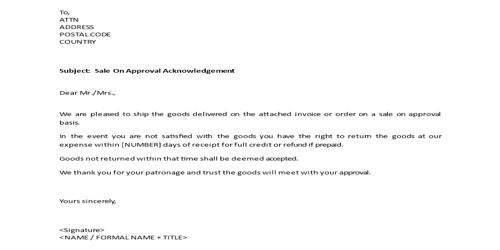 Sample Acknowledgement of Sale Letter Format