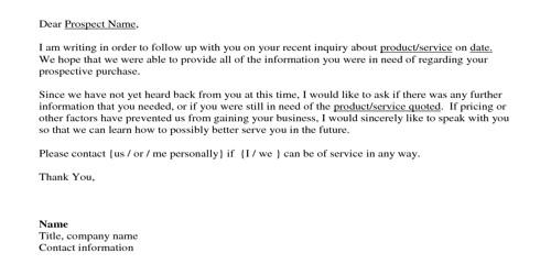 After Sales Service Letter