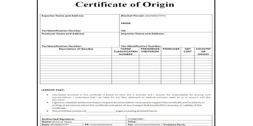 Certificate of Origin