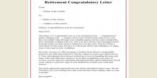Congratulation Letter on Retirement