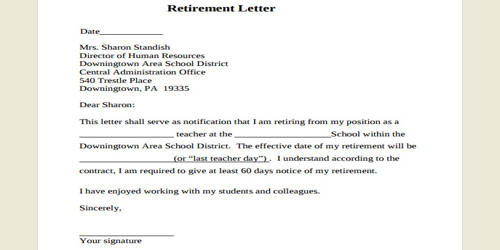 Early Retirement Letter Format