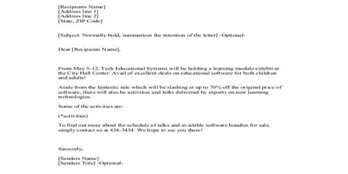 General Sales Letter Format