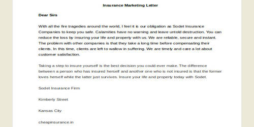 Sample Insurance Marketing Sales Letter Format