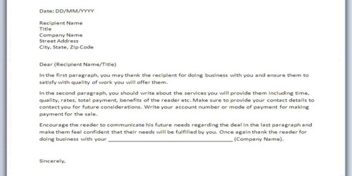 Sample Internet Sales Letter Format