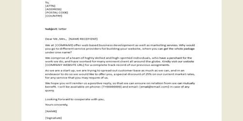 Sample Marketing Sales Letter Format