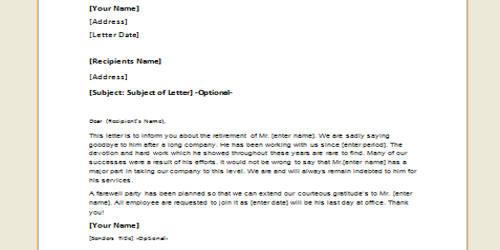 Sample Retirement Announcement Letter Format