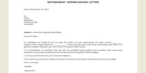 Retirement Appreciation Letter Format
