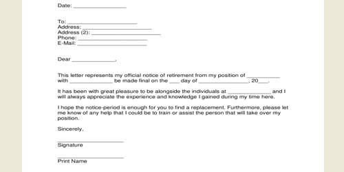 Sample Retirement Letter format from Employer