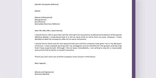 Sample Early Retirement Letter Format