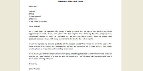 Sample Letter to thank a Retiree for his or her Service