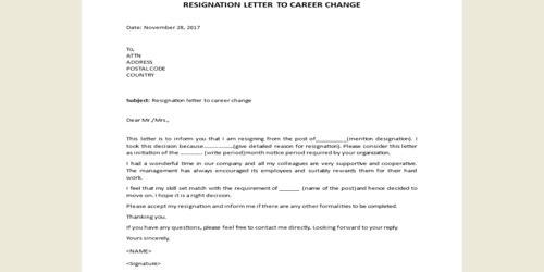 Sample Resignation Letter for Career Change