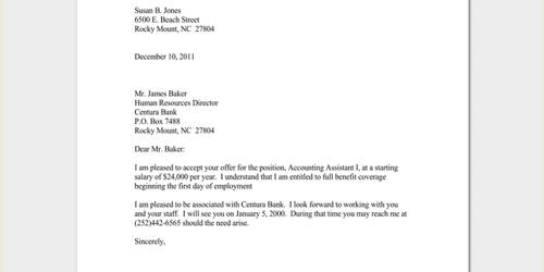 Response Letter for a Job Offering