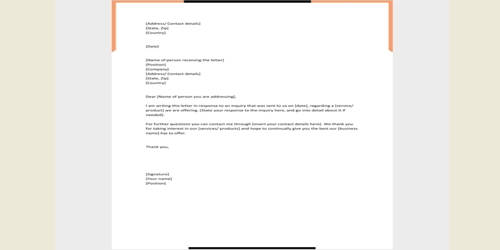 Sample Response Letter to an Inquiry