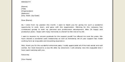 Retirement Party Letter Format