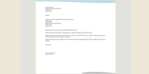 Sample Responding Letter to the Request to Your Resume