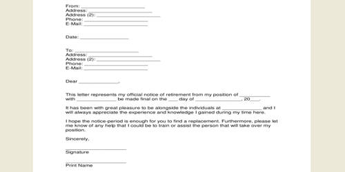 Sample Retirement Request Letter Format