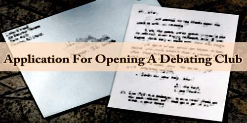 Application For Opening A Debating Club
