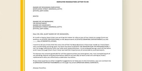 Sample Employee Resignation Letter Format Assignment Point