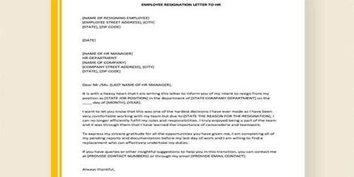 Sample Employee Resignation Letter Format