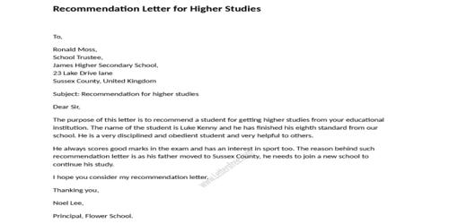 Resignation Letter due to Higher Study