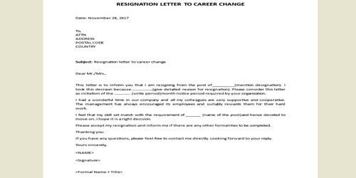 Resignation Letter format for Career Change