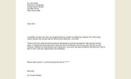 Resignation Letter format for School Teacher
