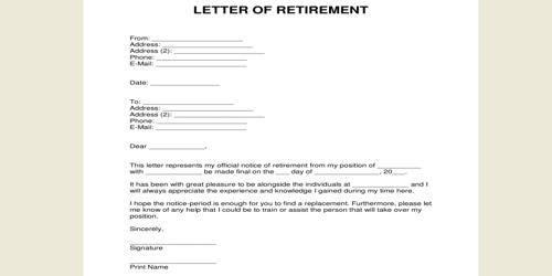 Retirement Resignation Letter Format