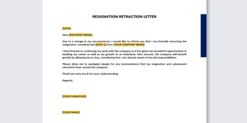 Withdrawing a Resignation Letter