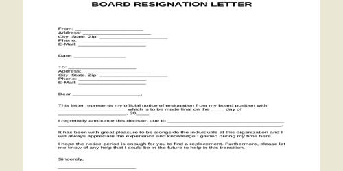 Sample Board Resignation Letter Format