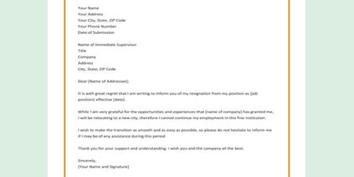 Sample Resignation Letter from Workplace