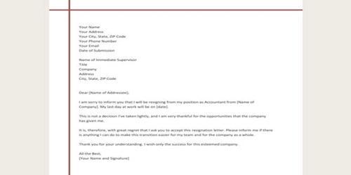 Sample Resignation Letter of Accountant