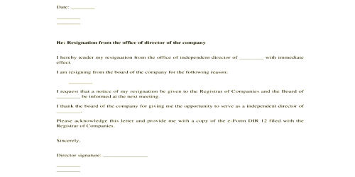 Sample Resignation Letter of Director