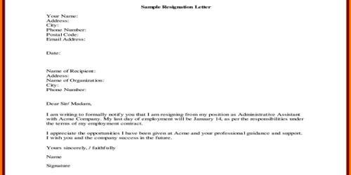 Sample Sales Resignation Letter Format