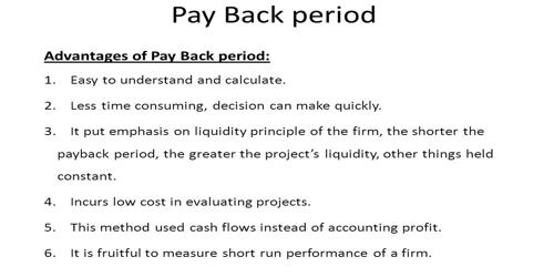 Advantages of Pay Back Period (PBP)