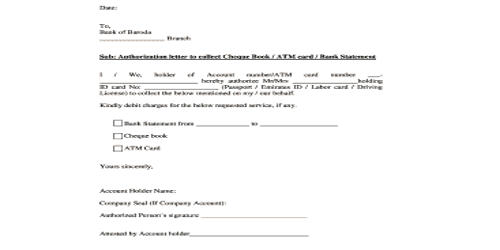Request Letter for Cheque Book