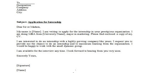Request Letter for Internship