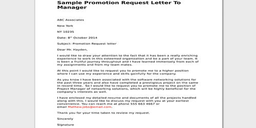 Request Letter for Job Promotion