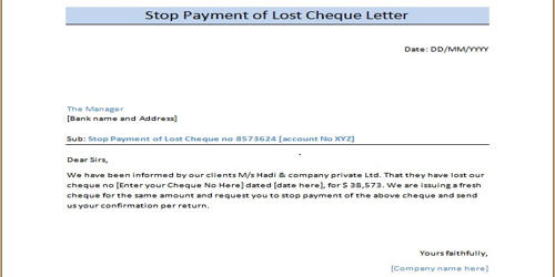 Request Letter for Stop Payment of Cheque