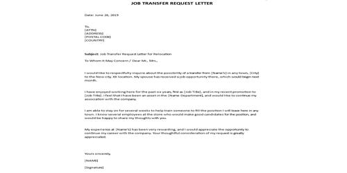 Request Letter for Transfer to another place