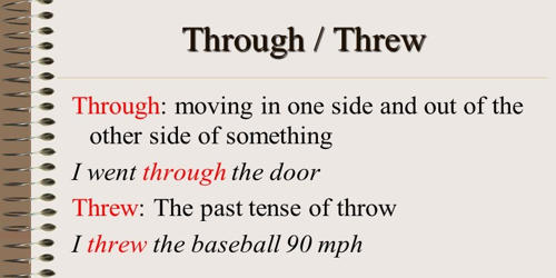 Difference between Threw and Through