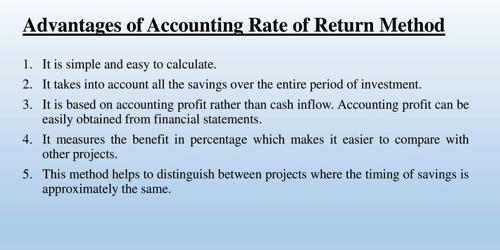 Advantages of Accounting Rate of Return