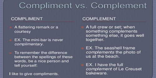 Difference between Compliment and Complement