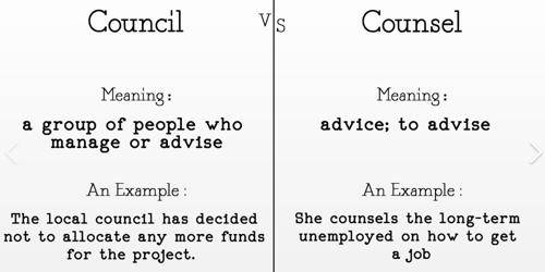 Difference between Council and Counsel